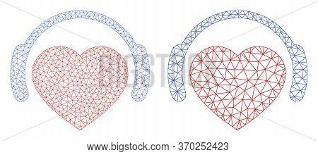 Triangular Vector Romantic Heart Dj Icon. Mesh Wireframe Romantic Heart Dj Image In Lowpoly Style Wi