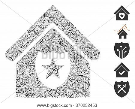 Line Mosaic Based On Realty Protection Icon. Mosaic Vector Realty Protection Is Formed With Scattere
