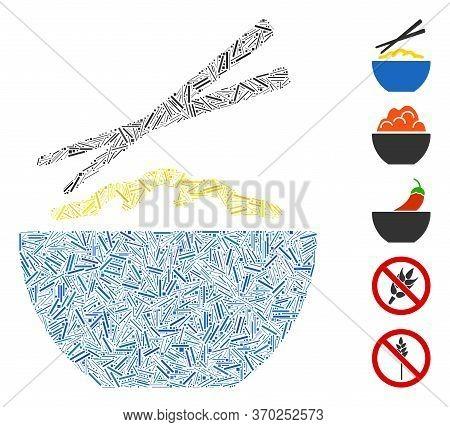 Line Mosaic Based On Rice Porridge Icon. Mosaic Vector Rice Porridge Is Composed With Random Line El