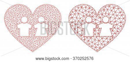 Mesh Vector Romantic Heart Icon. Mesh Wireframe Romantic Heart Image In Low Poly Style With Connecte