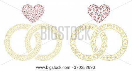Mesh Vector Romantic Rings Icon. Mesh Carcass Romantic Rings Image In Lowpoly Style With Connected T
