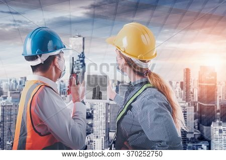 Construction Engineer And Architect Worker Team Supervision Plan To Constructing City Infrastructure