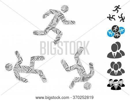 Line Mosaic Based On Running Men Circulation Icon. Mosaic Vector Running Men Circulation Is Designed