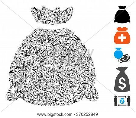 Line Mosaic Based On Sack Bag Icon. Mosaic Vector Sack Bag Is Designed With Scattered Line Dots. Bon