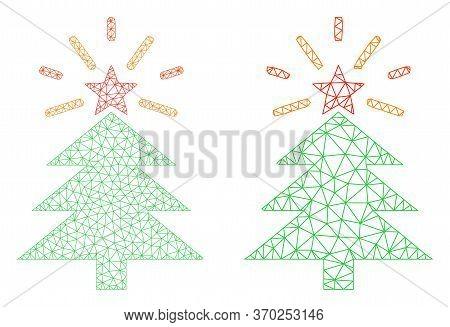 Mesh Vector Shine Christmas Tree Icon. Mesh Carcass Shine Christmas Tree Image In Low Poly Style Wit