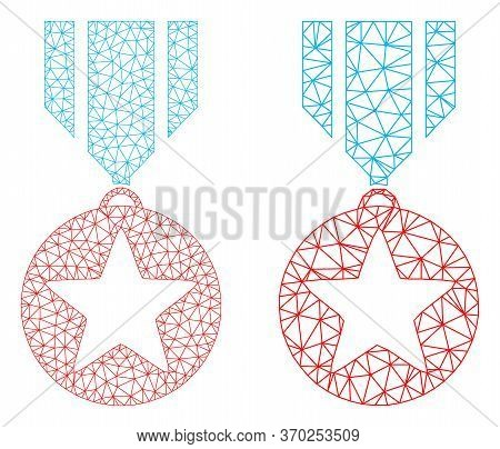 Mesh Vector Star Medal Icon. Mesh Wireframe Star Medal Image In Lowpoly Style With Combined Triangle