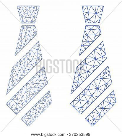 Triangular Vector Striped Tie Icon. Mesh Carcass Striped Tie Image In Low Poly Style With Organized