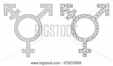 Mesh Vector Three Gender Symbol Icon. Polygonal Wireframe Three Gender Symbol Image In Low Poly Styl