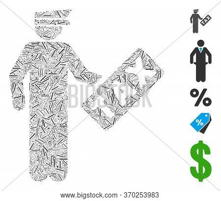 Line Mosaic Based On Tax Officer Icon. Mosaic Vector Tax Officer Is Formed With Randomized Line Item