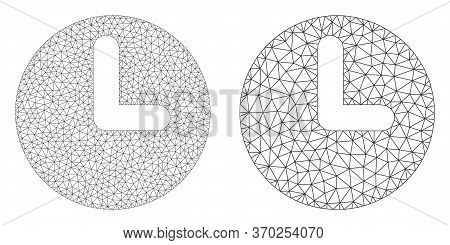 Mesh Vector Time Icon. Polygonal Wireframe Time Image In Low Poly Style With Structured Triangles, D
