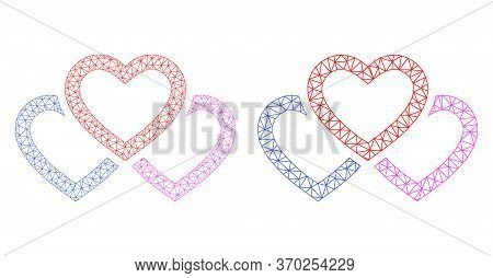 Mesh Vector Triple Love Hearts Icon. Mesh Carcass Triple Love Hearts Image In Low Poly Style With Co