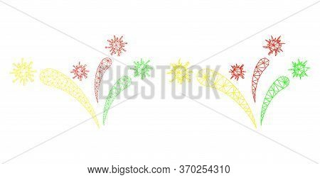 Mesh Vector Virus Fireworks Icon. Mesh Wireframe Virus Fireworks Image In Low Poly Style With Struct