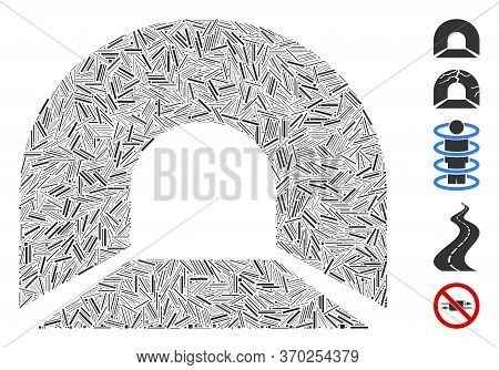 Line Mosaic Based On Tunnel Icon. Mosaic Vector Tunnel Is Created With Scattered Line Dots. Bonus Ic
