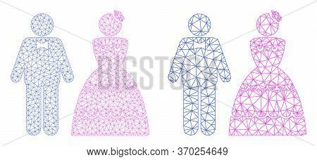 Triangular Vector Wedding Pair Icon. Mesh Carcass Wedding Pair Image In Lowpoly Style With Combined