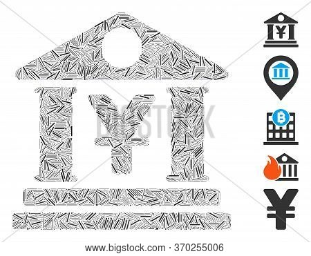Dash Mosaic Based On Yen Bank Building Icon. Mosaic Vector Yen Bank Building Is Formed With Scattere