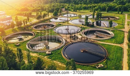 Aerial View Of Wastewater Treatment Plant, Filtration Of Dirty Or Sewage Water.
