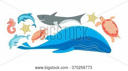 Set Of Colorful Sea Creatures Isolated On White. Ocean Animals - Whale, Turtle, Seahorse, Dolphins,