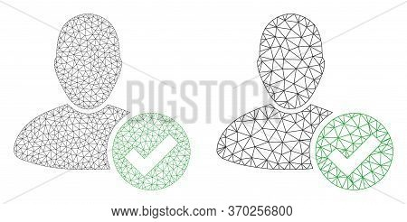 Mesh Vector Valid User Icon. Mesh Wireframe Valid User Image In Low Poly Style With Combined Triangl
