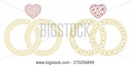 Mesh Vector Wedding Rings Icon. Mesh Carcass Wedding Rings Image In Lowpoly Style With Organized Tri