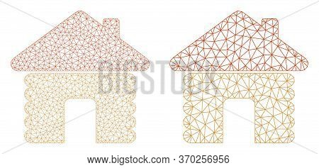 Mesh Vector Wooden House Icon. Mesh Carcass Wooden House Image In Low Poly Style With Combined Trian