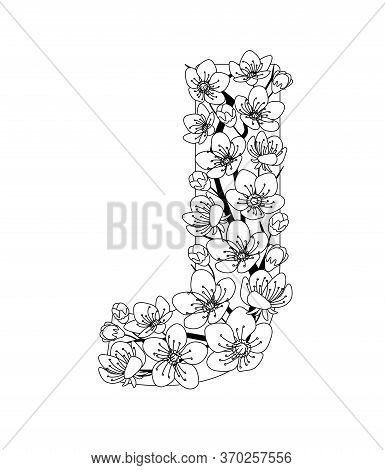 Capital Letter J Patterned With Contour Hand Drawn Doodle Blossom Cherry. Monochrome Page Anti Stres
