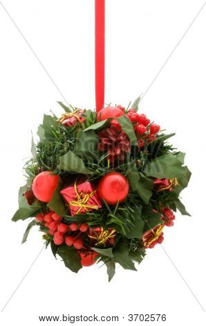 Christmas Ornament, Red And Gold Elements On Green Artificial Foliage Ball, Isolated On White