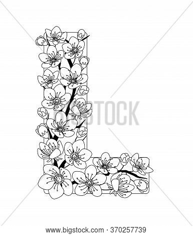Capital Letter L Patterned With Contour Hand Drawn Doodle Blossom Cherry. Monochrome Page Anti Stres