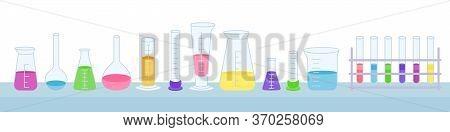 Flask And Beaker, Microscope, Jars. Equipment Lab Science Chemistry, Flat Cartoon Set. Erlenmeyer Fl