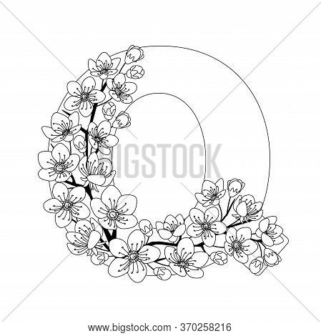 Capital Letter Q Patterned With Contour Hand Drawn Doodle Blossom Cherry. Monochrome Page Anti Stres