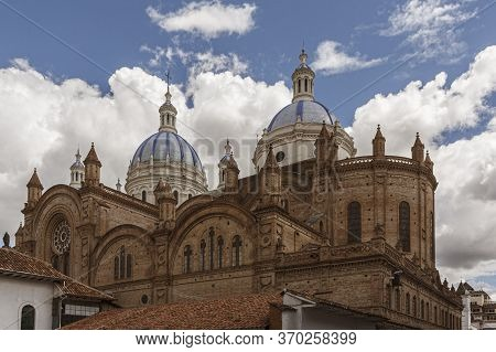 Cathedral In Cuenca On A Partially Cloudy Day