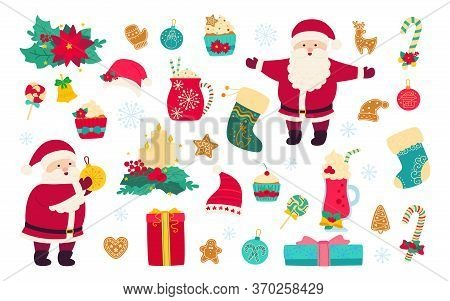 Christmas And New Year Set. Holly, Cupcake, Cup, Hat, Santa And Cookies Gift, Lollipop Candle, Mistl