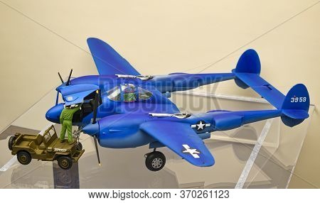 Washington, D.C., USA - November 11, 2017: Model of the Lockheed P-38 Lightning fighter aircraft is displayed in the Smithsonian National Air and Space Museum.