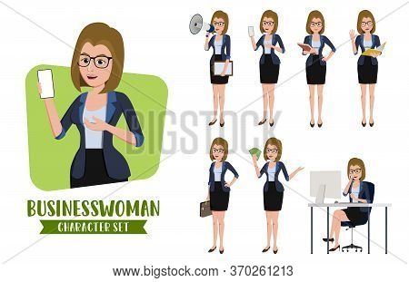 Businesswoman Character Vector Set. Business Woman Characters Set Of Office Female Professional Sale
