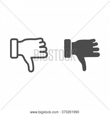 Dislike Gesture Line And Solid Icon, Gestures Concept, Thumbs Down Finger Sign On White Background,