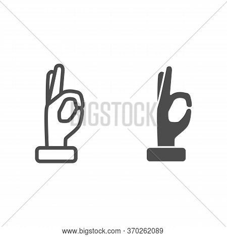 Gesture Okay Line And Solid Icon, Hand Gestures Concept, Ok Hand Symbol Sign On White Background, Ap