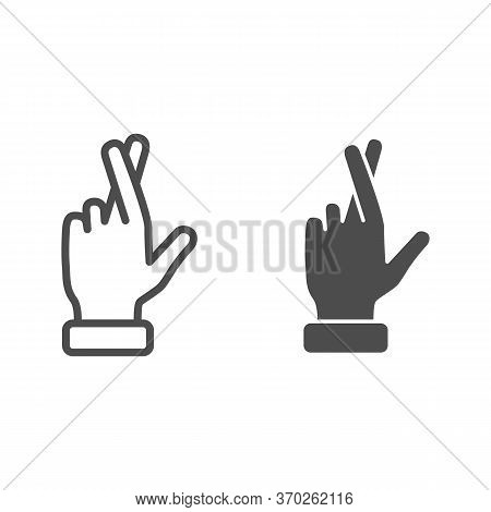 Promise Gesture Line And Solid Icon, Gestures Concept, Hand With Crossed Fingers Sign On White Backg
