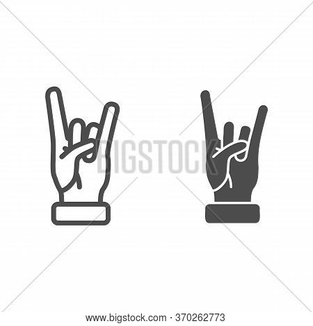 Rock And Roll Gesture Line And Solid Icon, Hand Gestures Concept, Heavy Metal Sign On White Backgrou