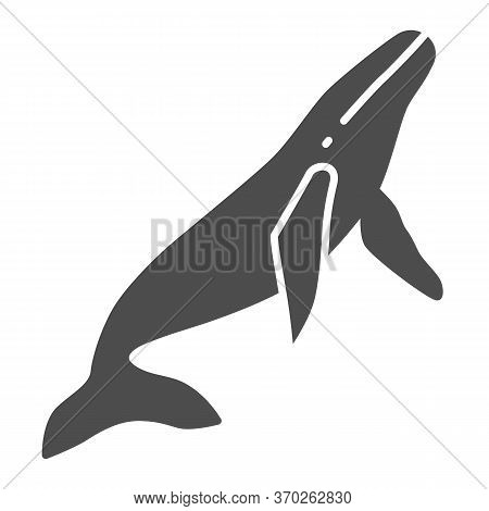 Whale Solid Icon, Ocean Concept, Orca Sign On White Background, Sperm Whale Icon In Glyph Style For