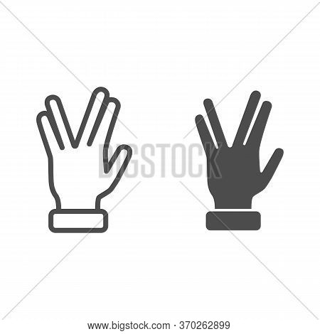 Four Fingers Gesture Line And Solid Icon, Gestures Concept, Vulcan Salute Hand Sign On White Backgro