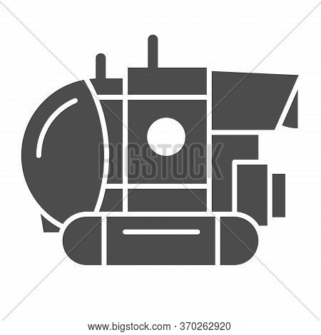 Bathyscaphe Solid Icon, Ocean Concept, Military Submarine Sign On White Background, Underwater Bathy