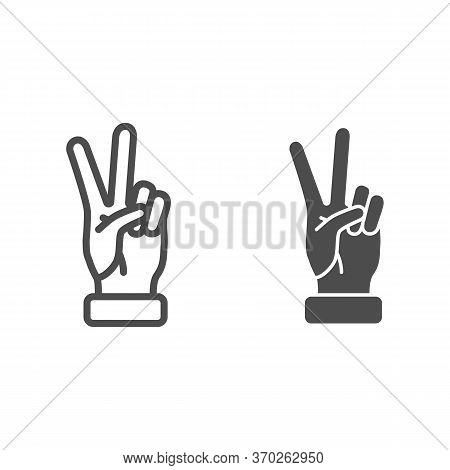 Victory Gesture Line And Solid Icon, Hand Gestures Concept, Peace Sign On White Background, Two Fing