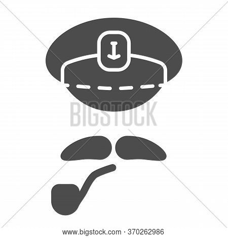 Captains Cap, Mustache And Pipe Solid Icon, Nautical Concept, Abstract Sea Captain Character Sign On
