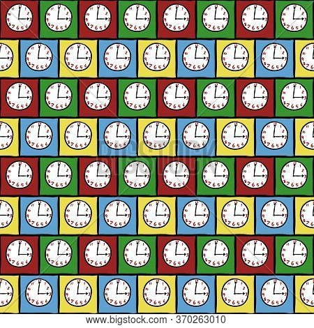Art Seamless Pattern Of Clock On Colorful Background