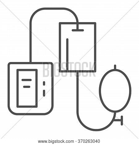 Electronic Tonometer Thin Line Icon, Heath Care Concept, Arterial Blood Pressure Checking Device Sig