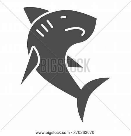 Shark Solid Icon, Ocean Concept, Danger Marine Fish Sign On White Background, Shark Silhouette Icon