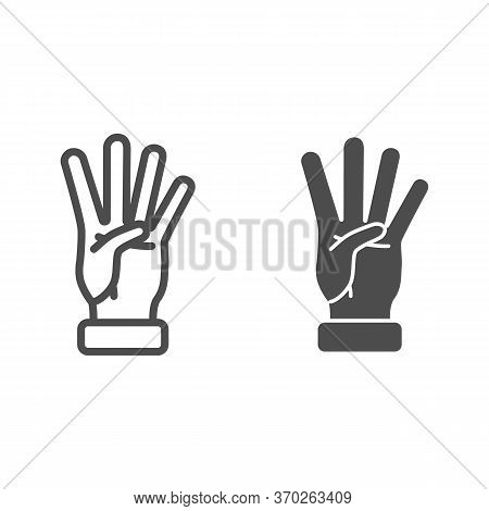 Four Fingers Gesture Line And Solid Icon, Gestures Concept, Count Numbers On Palm Sign On White Back