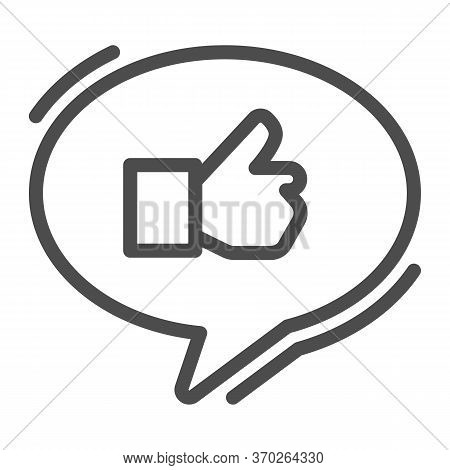 Ok Gesture In Chat Bubble Line Icon, Hand Gestures Concept, Thumbs Up Sign On White Background, Like