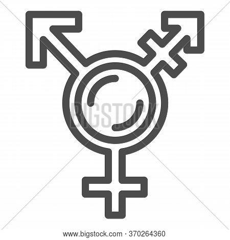 Transgender Symbol Line Icon, Lgbt Concept, Symbol Combining Gender Symbols On White Background, Sex