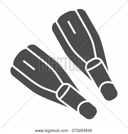 Pair Of Flippers Solid Icon, Nautical Concept, Diving Fins Sign On White Background, Flipper For Und