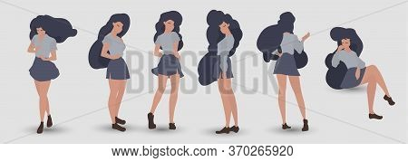 Woman Isolated On White Background. Group Of Dancers Enjoy Party. Cute Female Characters In Modern C